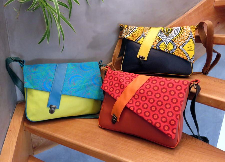 Sacoche besace simili cuir tissu ethnique fait main créateur fermoir cartable coloré fabrik ayuji original sac