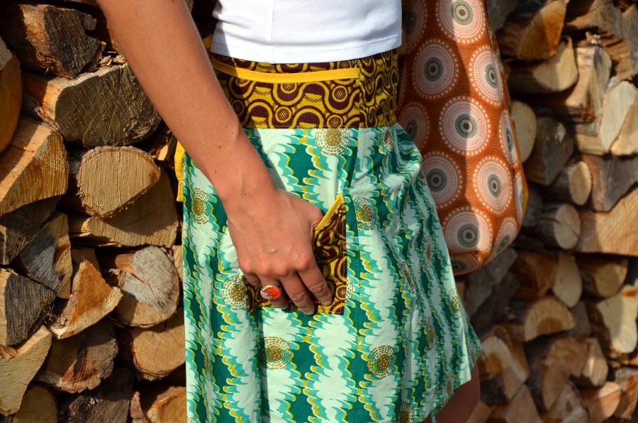 jupe portefeuille poche soufflet pièce unique créateur tissu éthnique belle confortable