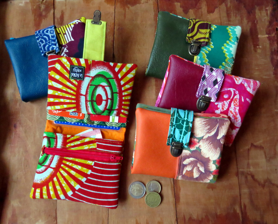 portefeuille carte identité monnaie fermoir tuck cartable simili cuir coton tissu ethnique fait main fabrik ayuji