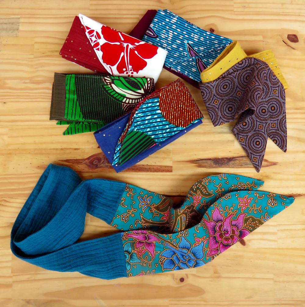 bandeau nouer cheveux accessoire mode coton tissu beau original artisanat ethnique afrique asie fleur wax batik swheswhe double gaze