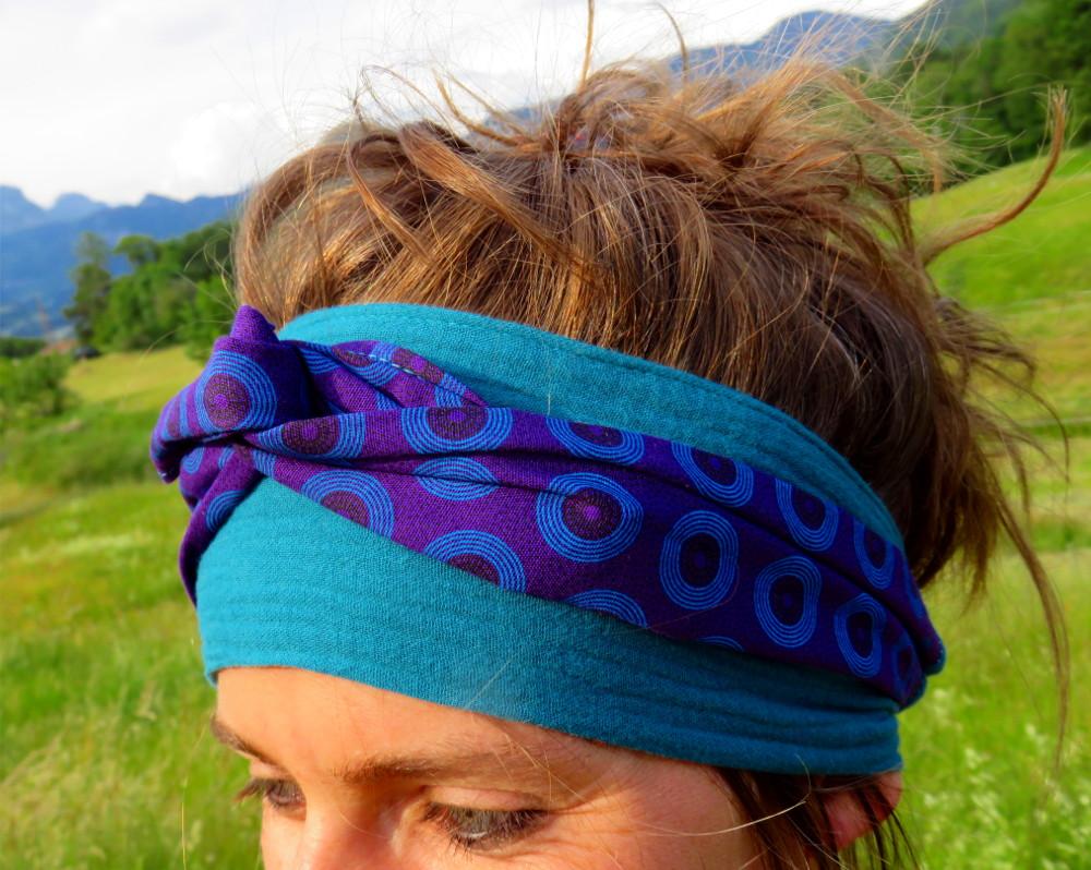 bandeau nouer cheveux accessoire mode coton tissu beau original artisanat ethnique afrique du sud swheswhe rond géométrique bleu violet double gaze