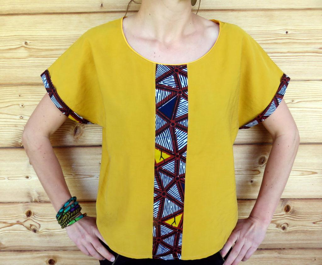 haut tshirt top jaune été fluide beau original ethnique