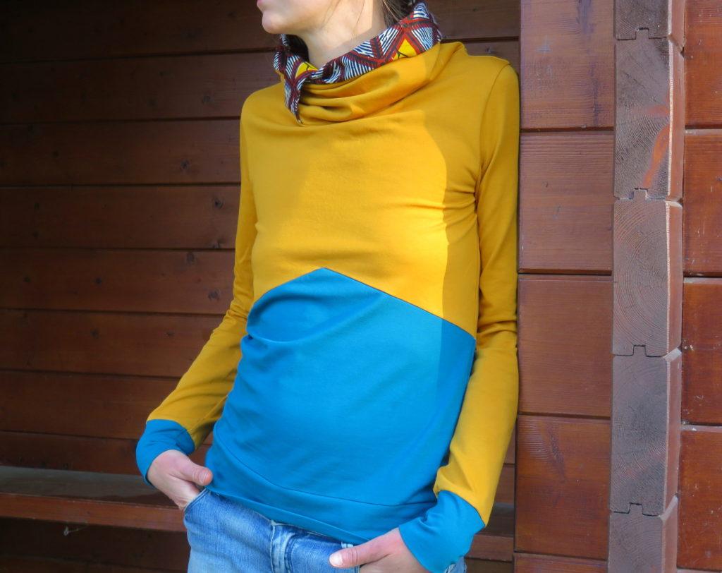 tshirt manches longues jaune bleu bicolore col roulé